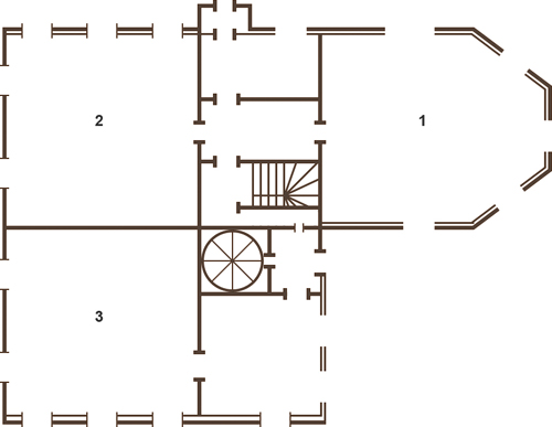 Plan of the first floor of Priory Palace